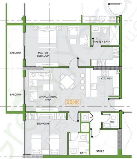 Planning of the apartment 2BR, 1223 in Joya Blanca, Dubai