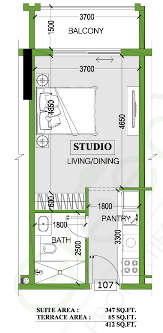 Planning of the apartment Studios, 412 in Joya Blanca, Dubai