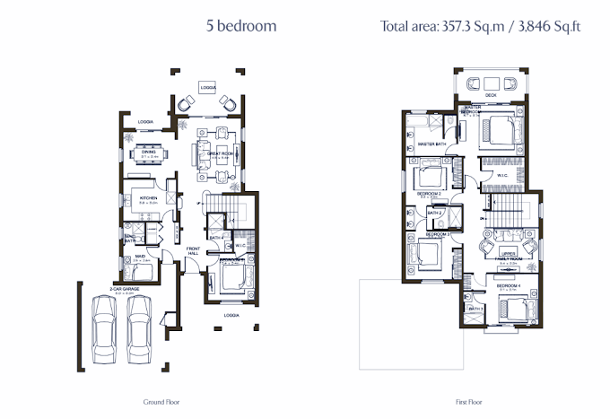 Planning of the apartment 5BR, 3846 in Lila Villas in Arabian Ranches, Dubai