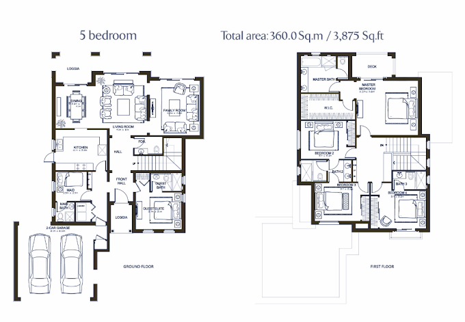 Planning of the apartment 5BR, 3875 in Lila Villas in Arabian Ranches, Dubai