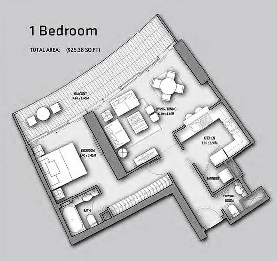 Planning of the apartment 1BR, 925.38 in Burj Vista Apartments, Dubai