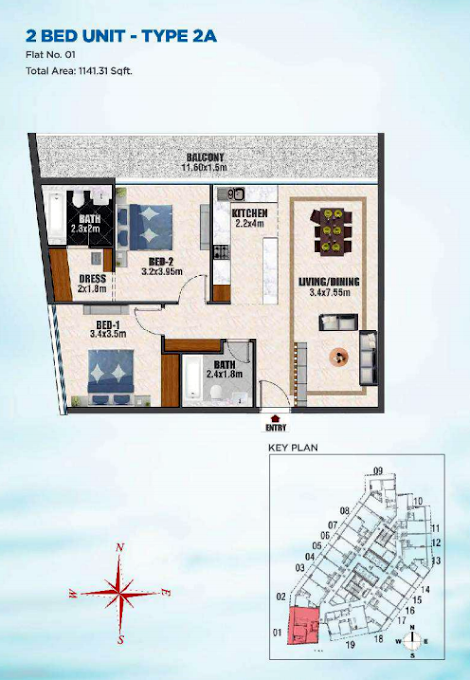 Planning of the apartment 2BR, 1141 in Bayz Tower, Dubai