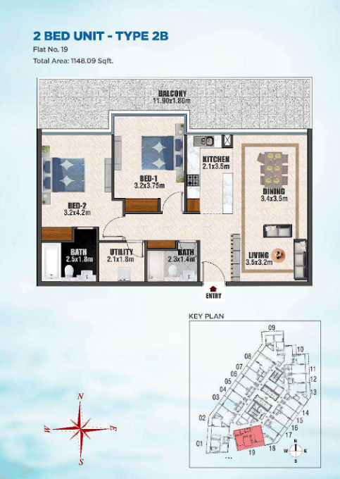 Planning of the apartment 2BR, 1148 in Bayz Tower, Dubai