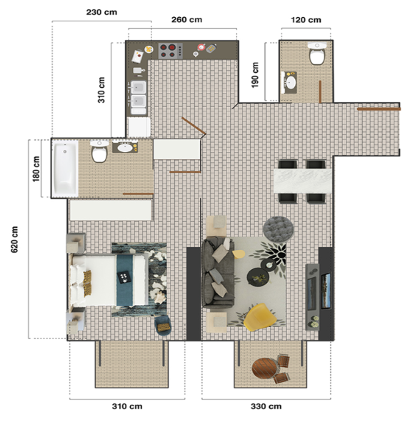 Planning of the apartment 1BR, 765.1 in The Square Tower, Dubai