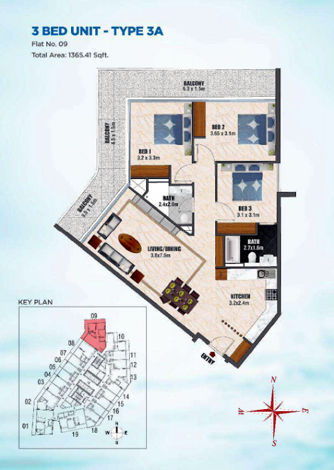 Planning of the apartment 3BR, 1365.41 in Bayz Tower, Dubai