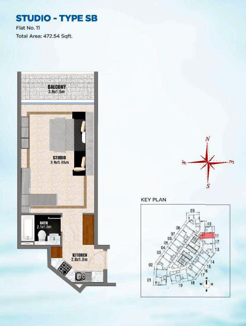 Planning of the apartment Studios, 472.54 in Bayz Tower, Dubai