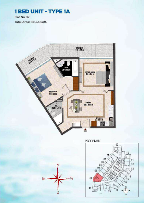 Planning of the apartment 1BR, 881.36 in Bayz Tower, Dubai