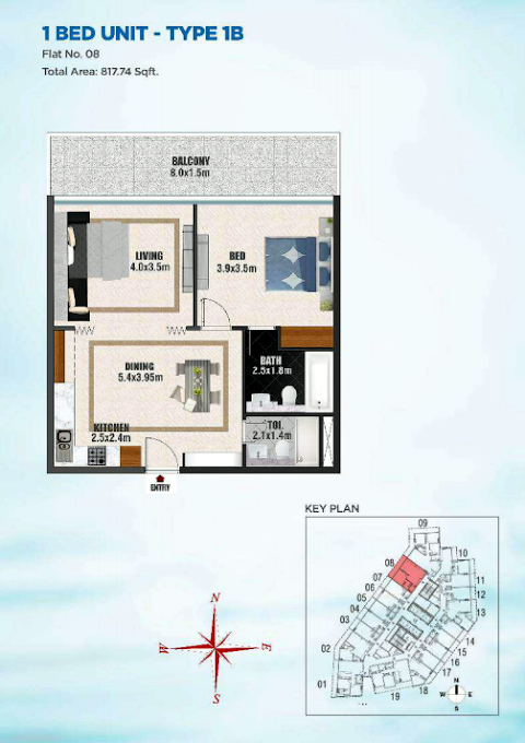 Planning of the apartment 1BR, 817.74 in Bayz Tower, Dubai
