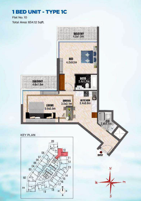 Planning of the apartment 1BR, 854.12 in Bayz Tower, Dubai