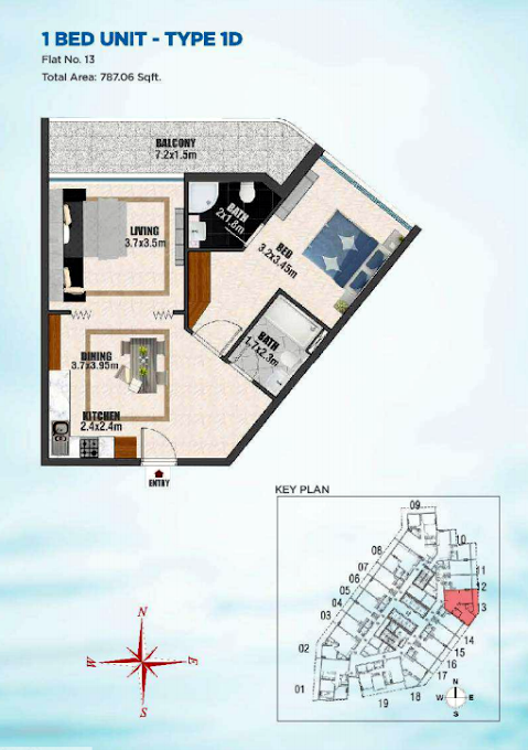 Planning of the apartment 1BR, 787.06 in Bayz Tower, Dubai