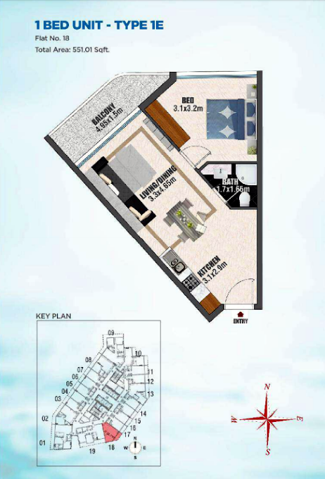 Planning of the apartment 1BR, 551.01 in Bayz Tower, Dubai