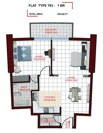Planning of the apartment 1BR, 759 in Miraclz Tower, Dubai