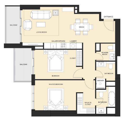 Planning of the apartment 2BR, 1096.62 in Studio One Apartments, Dubai