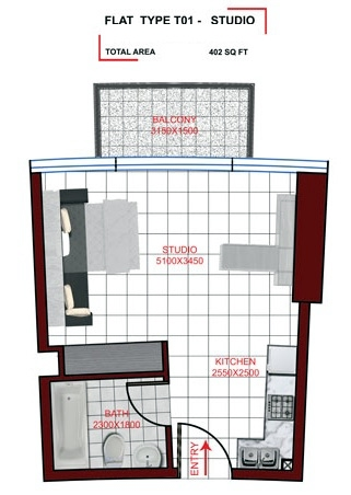 Planning of the apartment Studio, 402 in Miraclz Tower, Dubai