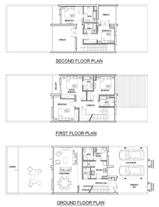 Planning of the apartment Villas 5BR, 2516 in Juniper, Dubai
