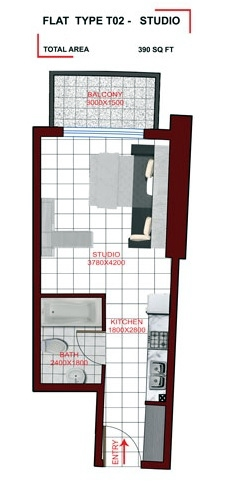 Planning of the apartment Studio, 390 in Miraclz Tower, Dubai