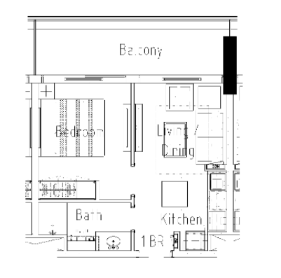 Planning of the apartment 1BR, 480 in Vera Residences, Dubai