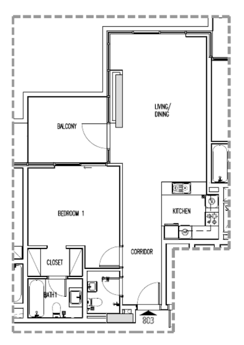 Planning of the apartment 1BR, 979 in Orchid, Dubai