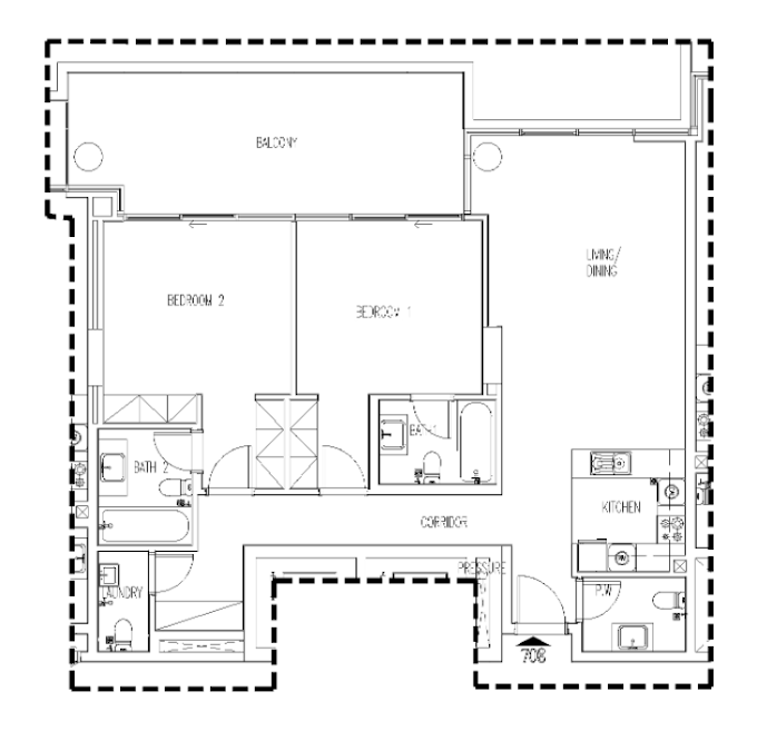Planning of the apartment 2BR, 1487 in Orchid, Dubai
