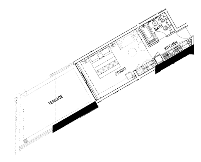 Planning of the apartment Studios, 651 in Maison Prive, Dubai