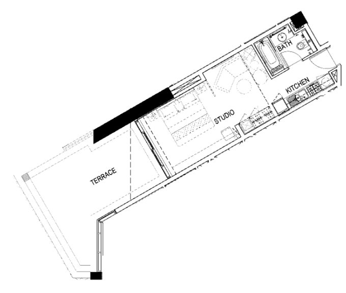 Planning of the apartment Studios, 659 in Maison Prive, Dubai