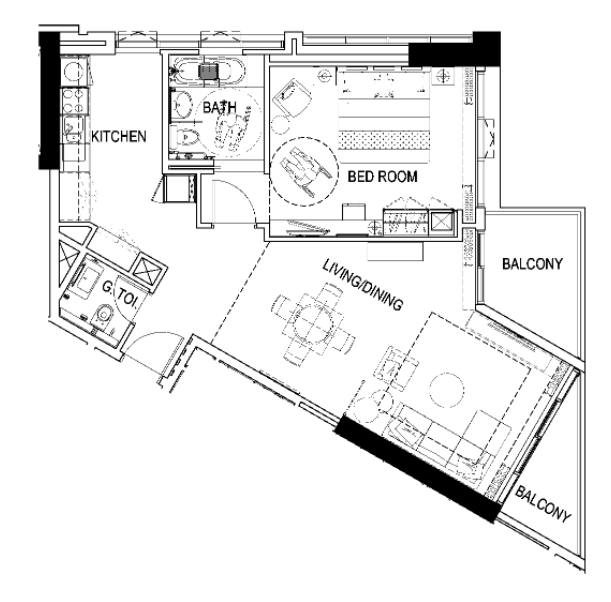 Planning of the apartment 1BR, 958 in Maison Prive, Dubai