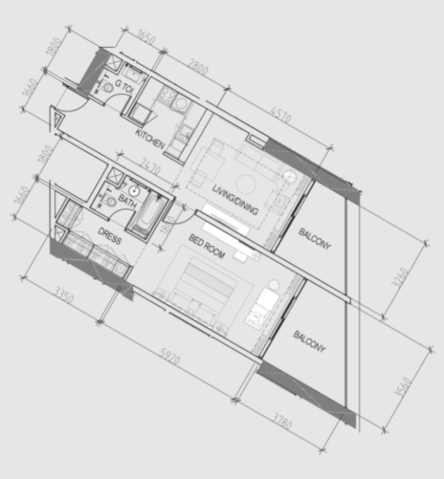 Planning of the apartment 1BR, 964 in Maison Prive, Dubai