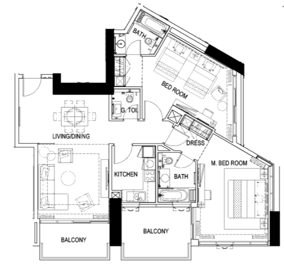 Planning of the apartment 2BR, 1342 in Maison Prive, Dubai