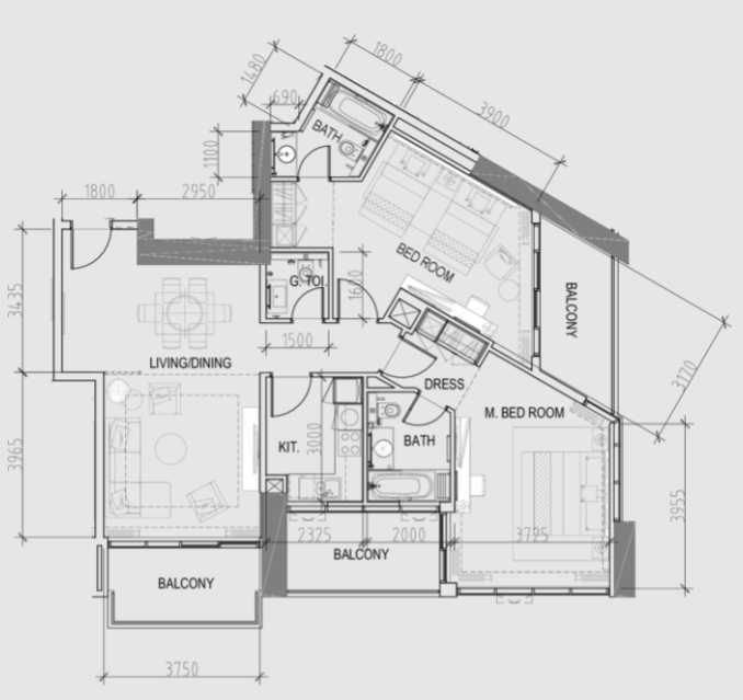Planning of the apartment 2BR, 1381 in Maison Prive, Dubai