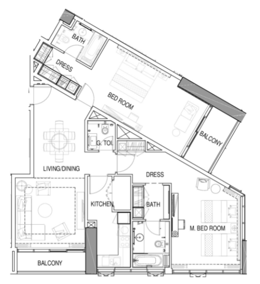 Planning of the apartment 2BR, 1398 in Maison Prive, Dubai