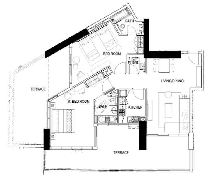 Planning of the apartment 2BR, 1858 in Maison Prive, Dubai