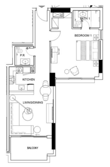 Planning of the apartment 1BR, 819 in Golf Town, Dubai