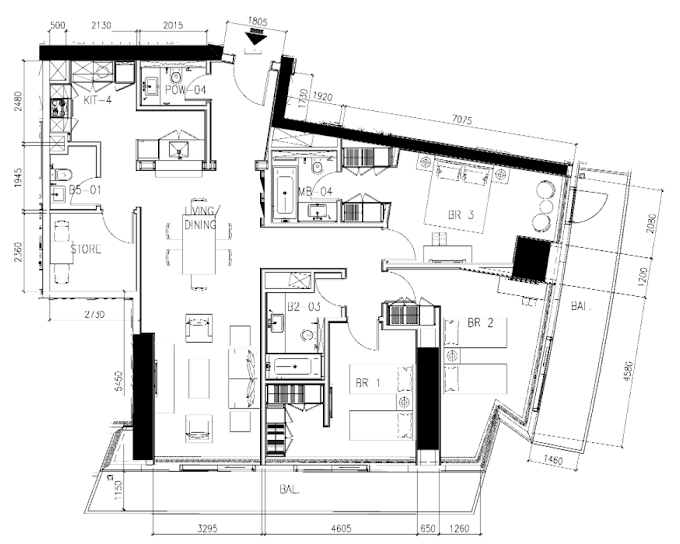 Planning of the apartment 3BR, 1958 in DAMAC Heights, Dubai