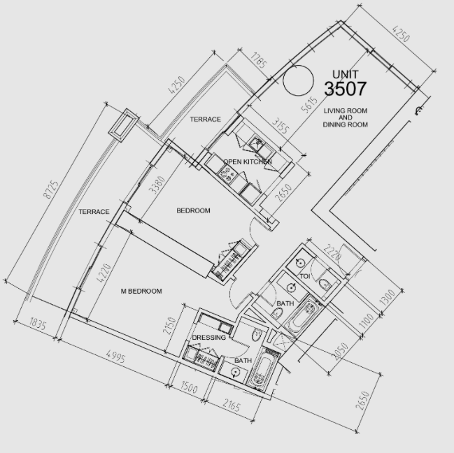 Planning of the apartment 2BR, 1515 in Damac Towers, Dubai