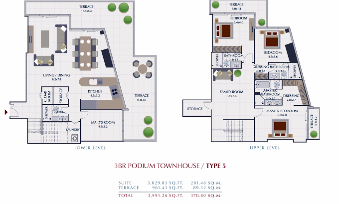Planning of the apartment Townhouses 3BR, 3991.26 in Park Gate Residences, Dubai