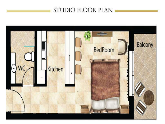 Planning of the apartment Studios, 437 in Dar Al Jawhara, Dubai