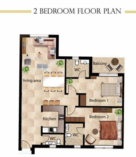 Planning of the apartment 2BR, 1066 in Dar Al Jawhara, Dubai