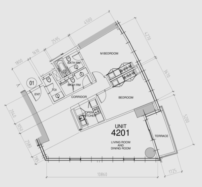 Planning of the apartment 2BR, 1394 in Damac Towers, Dubai