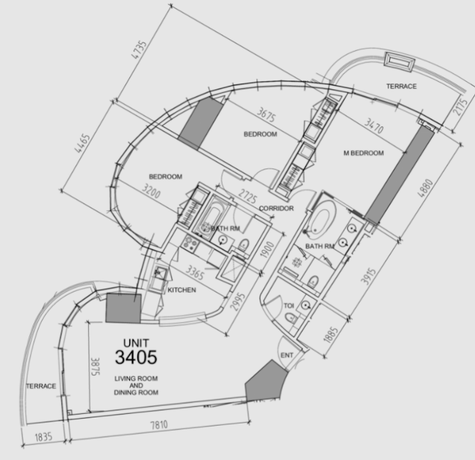 Planning of the apartment 3BR, 1747 in Damac Towers, Dubai