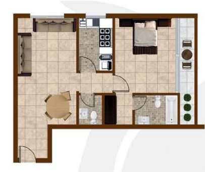 Planning of the apartment 1BR, 952 in K1 Residence, Dubai