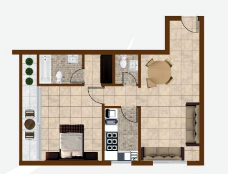 Planning of the apartment 1BR, 970 in K1 Residence, Dubai