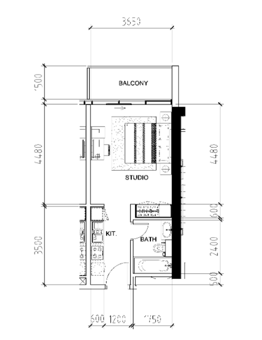 Planning of the apartment Studios, 407 in Bellavista, Dubai