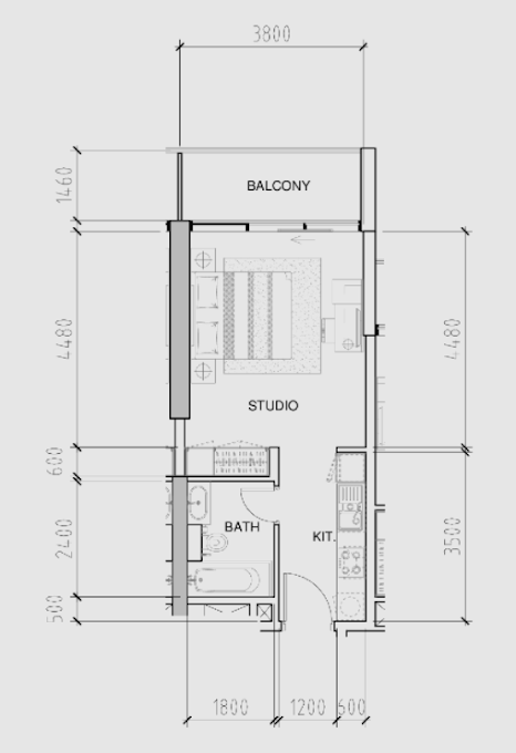 Planning of the apartment Studios, 406 in Bellavista, Dubai