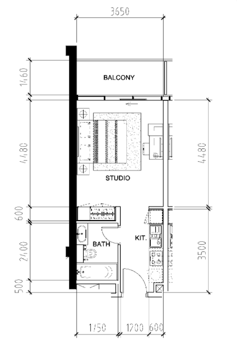 Planning of the apartment Studios, 400 in Bellavista, Dubai