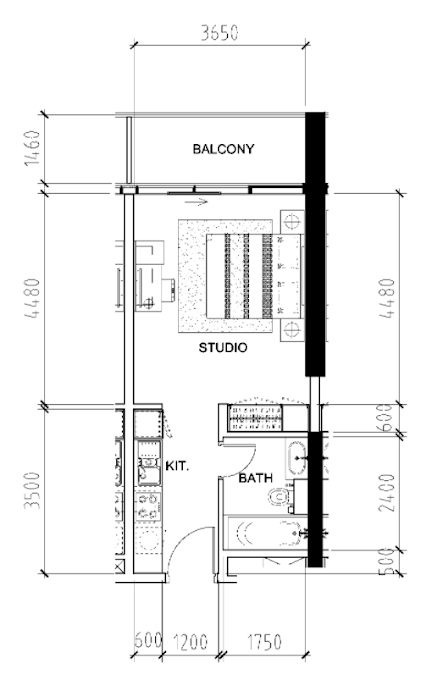 Planning of the apartment Studios, 408 in Bellavista, Dubai