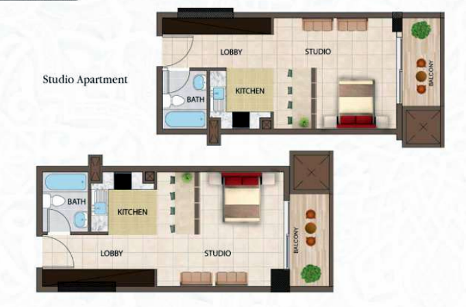 Planning of the apartment Studios, 541.3 in Arabian Gate Apartments, Dubai