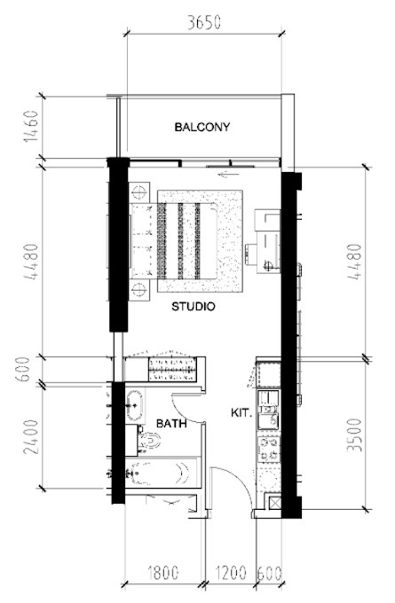 Planning of the apartment Studios, 413 in Bellavista, Dubai