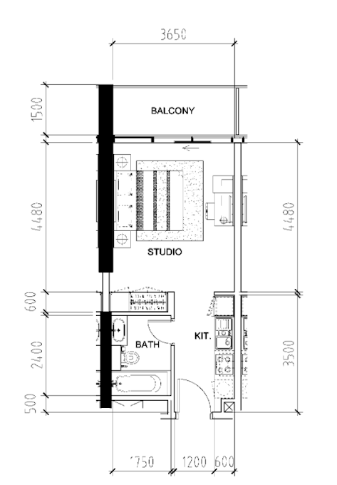 Planning of the apartment Studios, 405 in Bellavista, Dubai