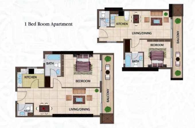 Planning of the apartment 1BR, 978.08 in Arabian Gate Apartments, Dubai