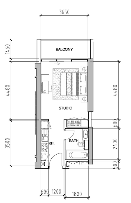Planning of the apartment Studios, 414 in Bellavista, Dubai